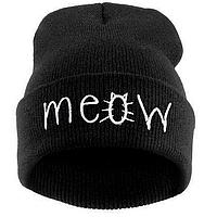 Модная женская трикотажная шапка MEOW черного цвета