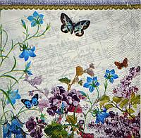 "Салфетка для декупажа ""Ноты, цветы"", размер 25*25 см, трехслойная"