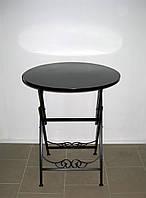Стол кованый складной круглый черный