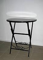 Стол кованый складной круглый черный, фото 1