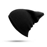Модная женская трикотажная шапка черного цвета