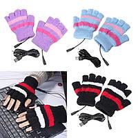Согревающие USB перчатки для работы на ПК, ноутбуке, перчатки с подогревом