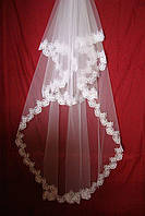 Свадебная кружевная фата (9) удлиненная (белая)