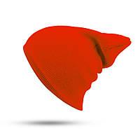 Модная женская трикотажная шапка оранжевого цвета
