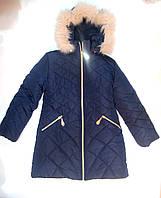 Пальто теплое зимнее на девочку 116, 122, 128, 134, 140, 146