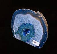 Агатовая жеода, жеода с горным хрусталём (цвет бело-синий ~280 г.)