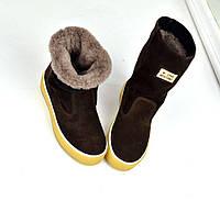 Только 41 размер! Зимние сапожки замшевые темно коричневые