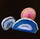 Агатовая жеода, жеода с горным хрусталём (цвет синий ~280 г.), фото 4