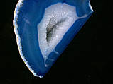 Агатовая жеода, жеода с горным хрусталём (цвет синий ~280 г.), фото 5