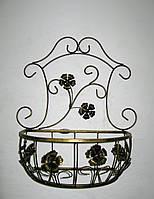 Подвесная подставка для цветов кованая Мальва 01 декор большая ч/з, фото 1