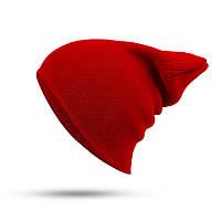 Модная женская трикотажная шапка красного цвета