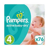 Подгузники Pampers Active Baby-Dry Maxi 4 (7-14 кг) Giant Pack, 76 шт.