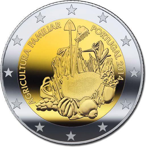 2 евро 2014 Португалия - Международный год семейных фермерских хозяйств. UNC из ролла