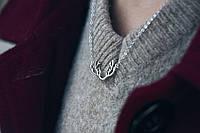 Кулон с рожками на цепочке - Серебряная подвеска 925 пробы