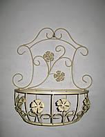 Подвесная подставка для цветов кованая Мальва 01 декор большая беж, фото 1
