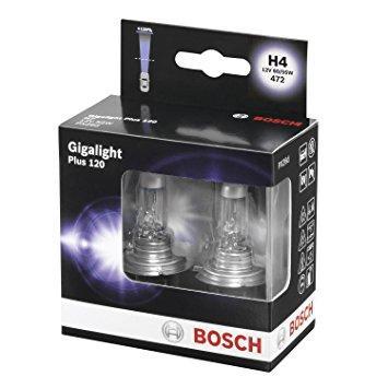 Лампа галогенная BOSCH H4 Gigalight Plus 120% 12V 60/55W (комплект 2 шт)