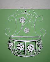 Подвесная подставка для цветов кованая Мальва 01 декор малая белая, фото 1