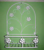 Подвесная подставка для цветов кованая Мальва 02 малая белая, фото 1