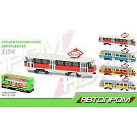 Трамвай металлический Автопром 6411ABCD, в коробке 19,5*5*8см.