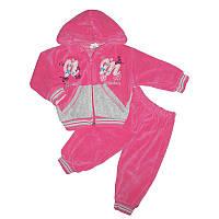 Костюм для девочки велюр 1-3года кофта+штаны арт.563