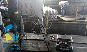 Выход на температуру вулканизации ..., создание рабочего давления с помощью компрессора metabo