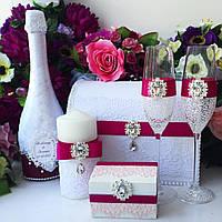Свадебные аксессуары в малиновом цвете, декор свадебных мероприятий Сумы