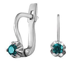 Сережки зі срібла з куб. цирконіями 177349