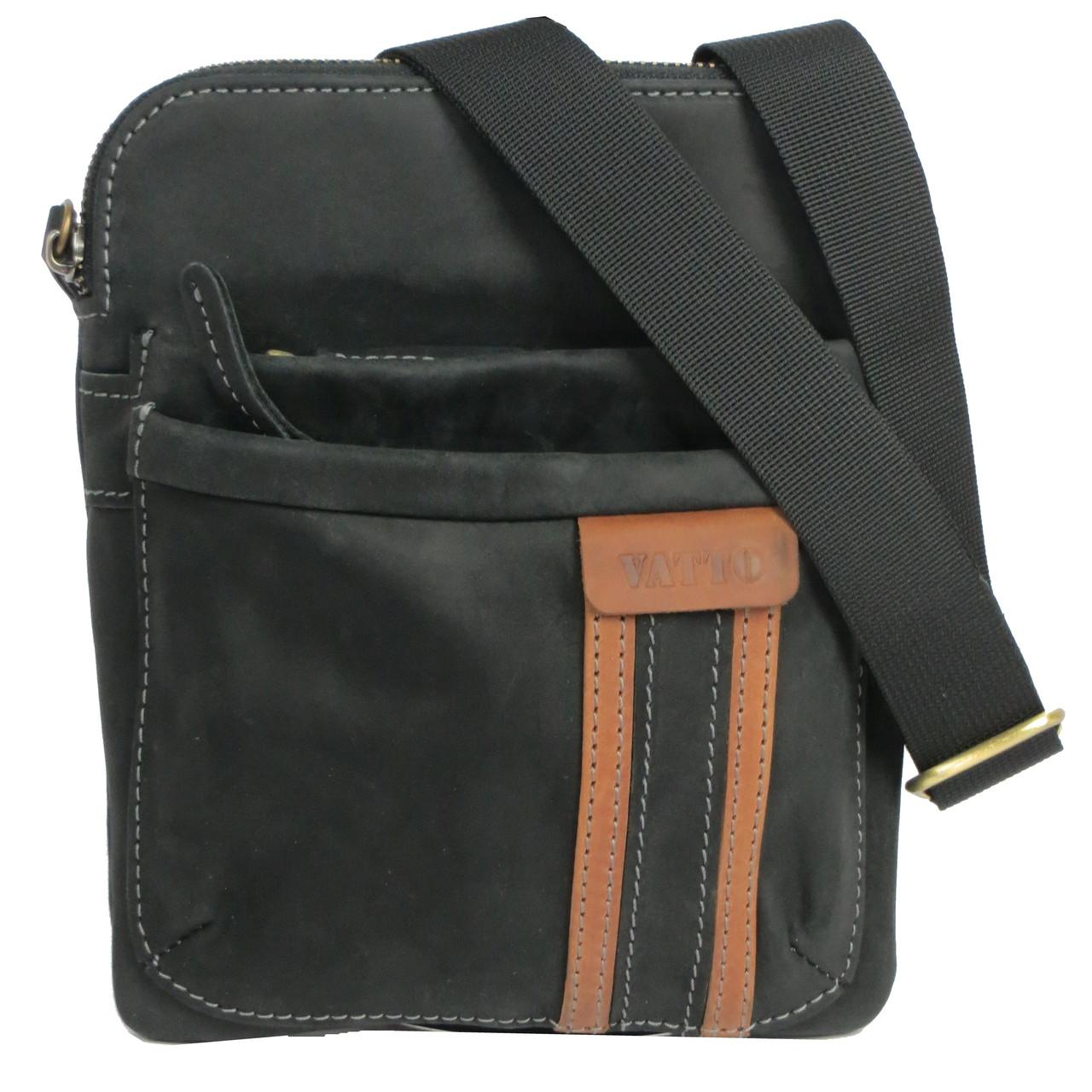 Сумка-планшет на плечо из натуральной кожи 21х19 см VATTO Mk-54Kr670.190 черный - Интернет магазин SUPERSUMKA в Киеве