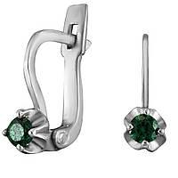 Серьги из серебра с куб. циркониями  177332 зеленый