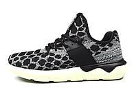 Мужские черно-серые беговые кроссовки Adidas Tubular Runner PrimeKnit (спортивные новинки лето, весна, осень)