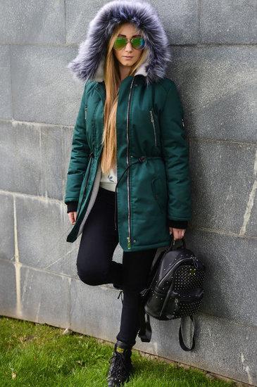 Жіноча зимове (куртка) парку на натуральному хутрі Смарагд