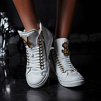 Кроссовки кожаные белые Y.S. высокие
