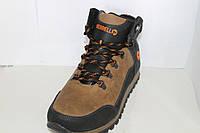 Ботинки зимние мужские Merrell из нубука на шнуровке и на крючках