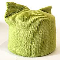 NEW! Женская вязаная шапка с кошачьими ушками. Цвет: салатовый с стразами в тон.