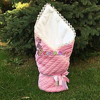 Конверт для новорожденных на выписку и в коляску теплый розовый вязка на махре