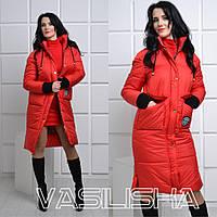 Куртка женская удлиненная зимняя плащевка Канада манжет довяз много цветов