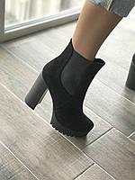 Ботинки из натуральной черной замши  №314-9 (идеал 818), фото 1