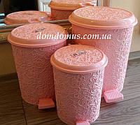 """Набор ведрер с педалью """"Ажур"""" (6, 10, 16 л) Elif Plastik, Турция, розовый"""