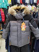 Комплект зимний для мальчика на двойном холлофайбере, опушка на капюшоне- натуральный мех