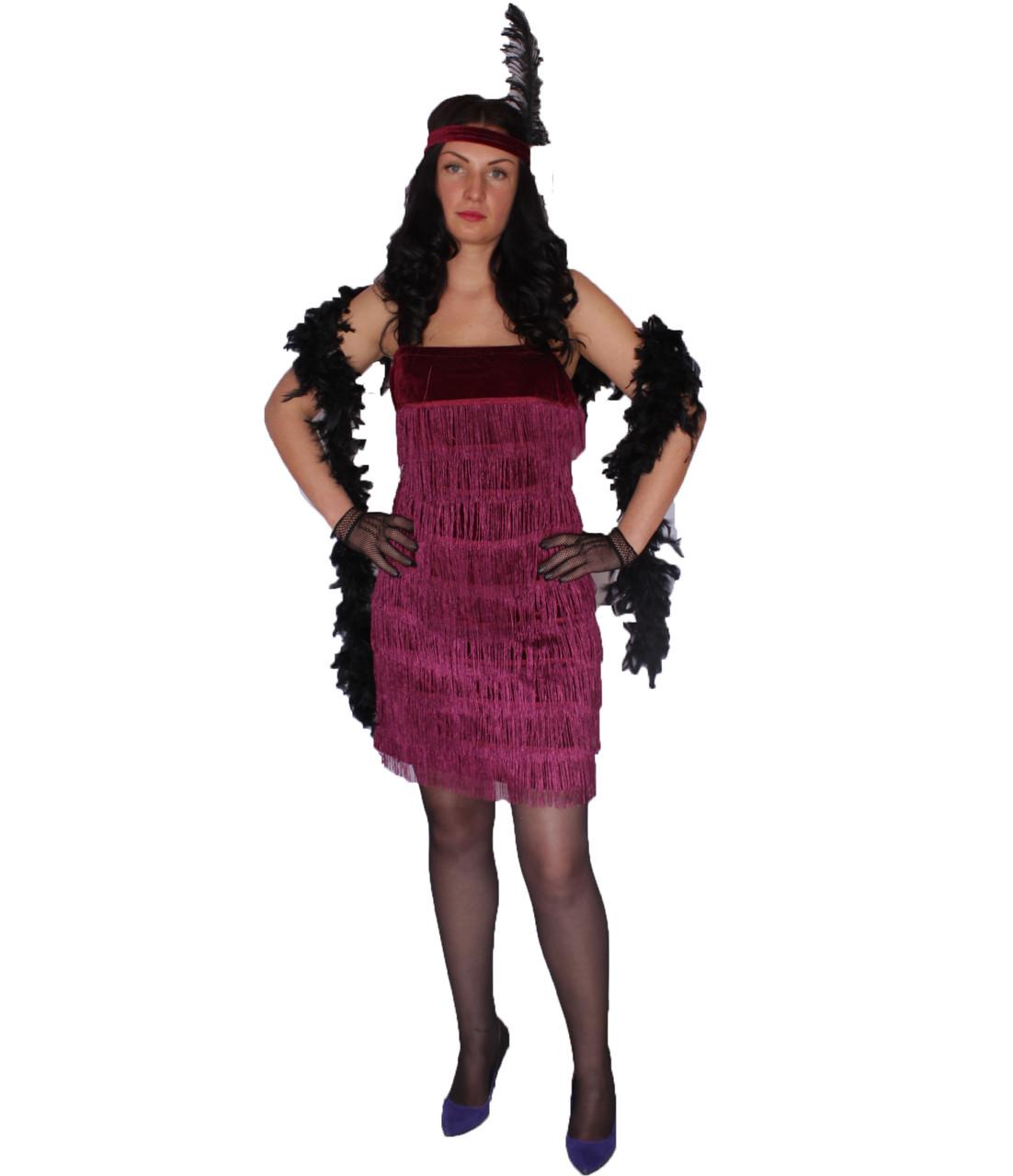 Платье в гангстерском стиле, бордовое - Интернет-магазин