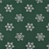 ✁ Отрез хлопковой ткани Снежинки на темно-зеленом 100х80 см