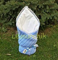 Конверт для новорожденных на выписку и в коляску теплый голубой вязка на махре