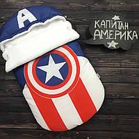 """Зимний Конверт-кокон для выписки из роддома """"Капитан Америка"""" (подходит в коляску до 6 мес) верх плащевка"""