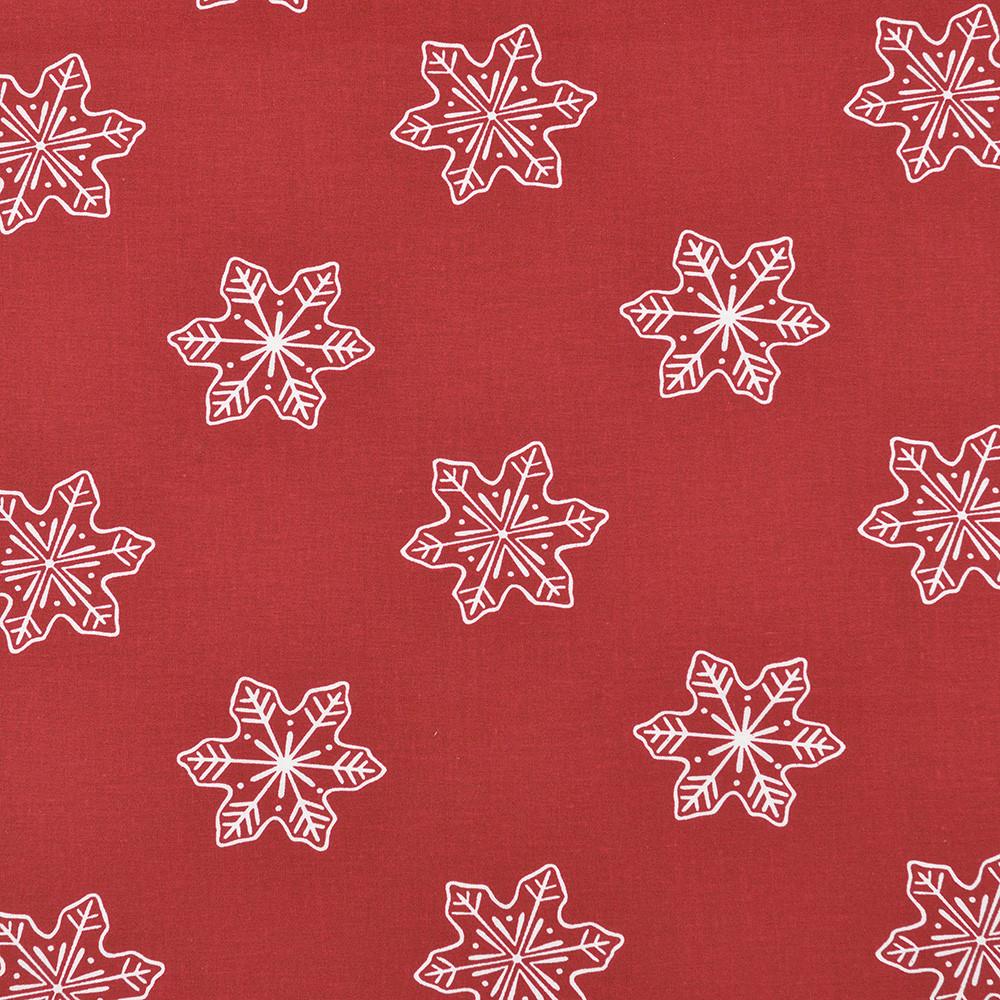 Хлопковая ткань Снежинки бордо