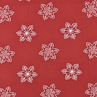 ✁ Отрез хлопковой ткани Снежинки бордо 100х80 см, фото 1
