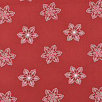 Бавовняна тканина Сніжинки бордо