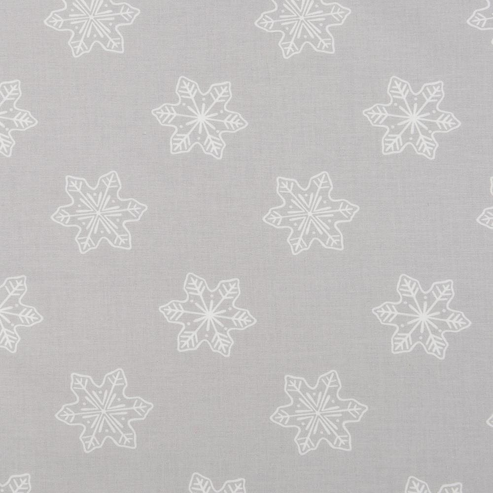 Хлопковая ткань Снежинки на светло-сером