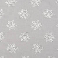 ✁ Отрез хлопковой ткани Снежинки на светло-сером 100х80 см, фото 1