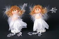 """Новогодние украшения из ткани с пухом 19 см """"Ангел"""" 12 шт в упаковке"""