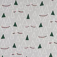 ✁ Відріз бавовняної тканини Ялинки з гірляндами зелені 100х80 см